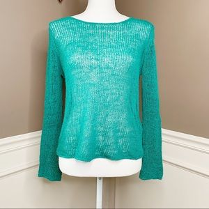 Eileen Fisher linen blend open knit sweater T0672